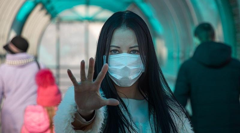 coronavirus covid-2019 Girl in mask on the street. Stop pandemic and panic